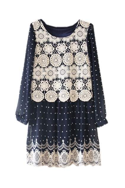 Lace Detailed Navy Blue Shift Dress