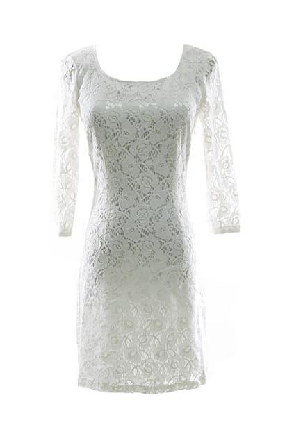 All Over Lace Cream Shift Dress