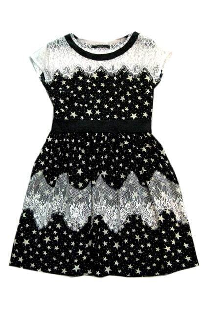 Stars Print Lace Hem Black Dress