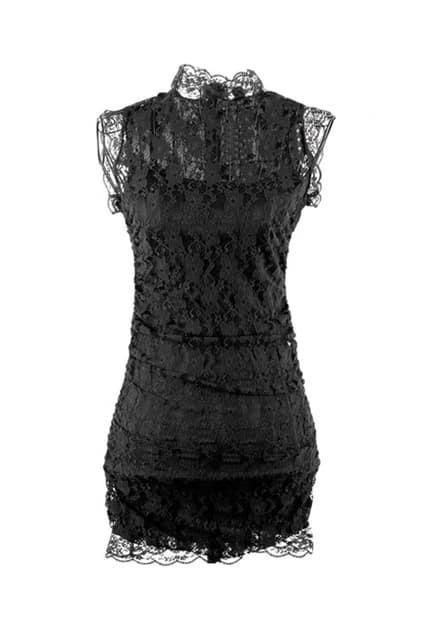 High Collar Black Lace Dress