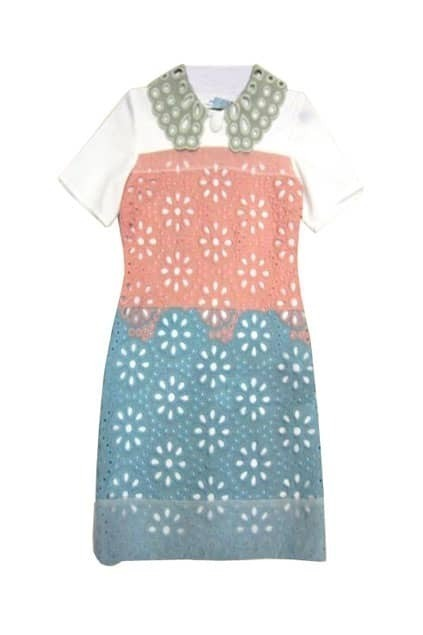 Hollowed Flower Contrast Color Dress
