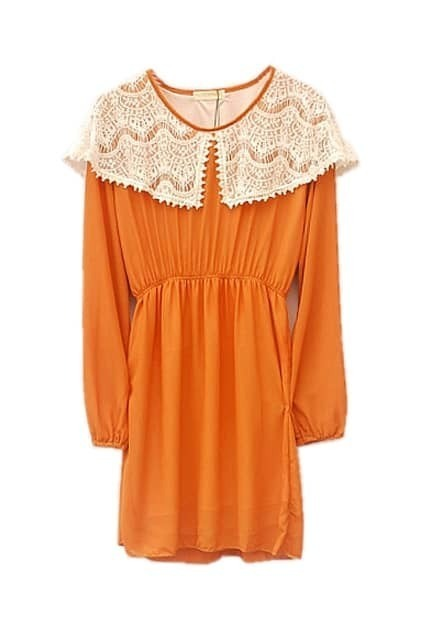 Lace Trimming Puff-sleeve Orange Dress
