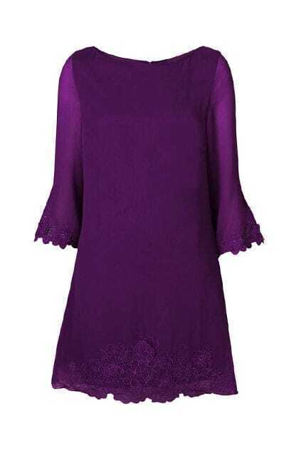 Hollow Out Flowers Purple Dress