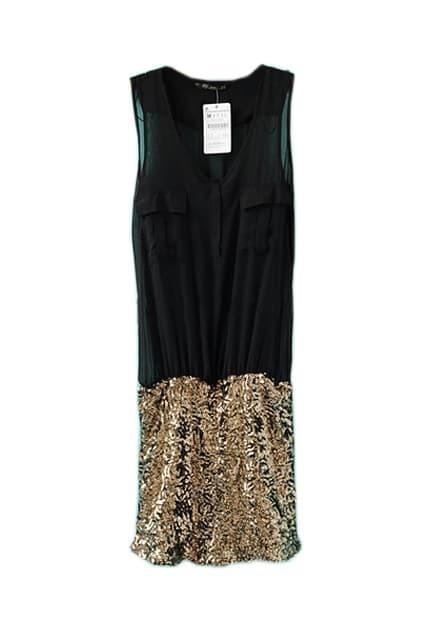 Sequin Detailed Black Shift Dress