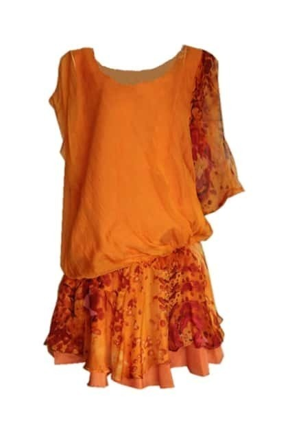Tie-dyed Orange Shift Dress