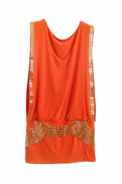 Sequin Embellished Orange Tank Dress