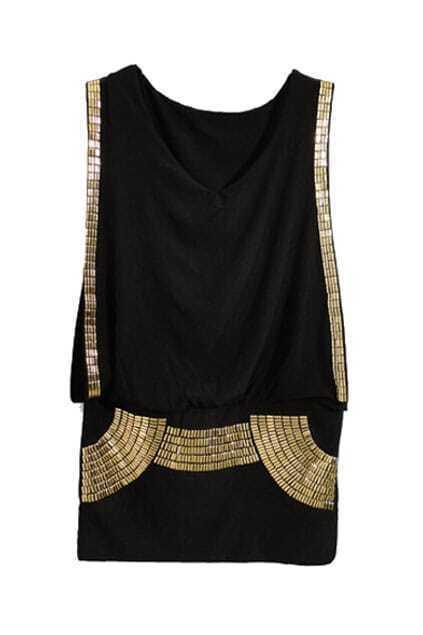 Sequin Embellished Black Tank Dress