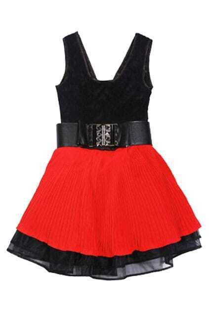 Color Contrast Black-red Tank Dress