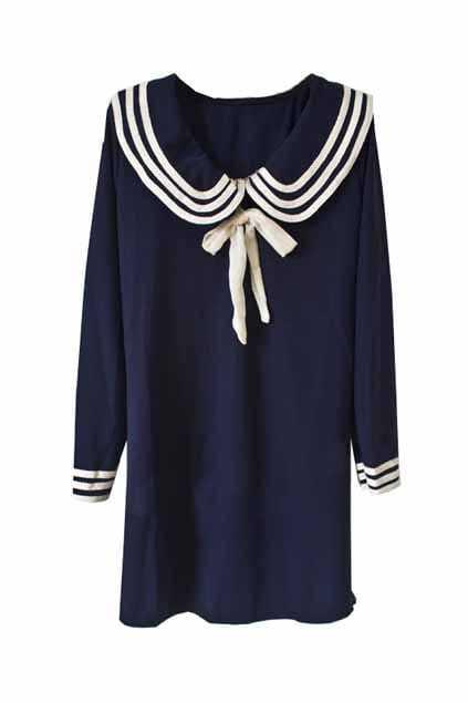 Navy Style Cotton Fabic Shift Dress