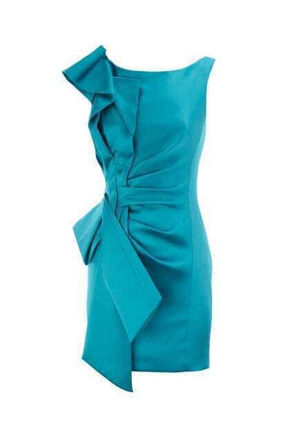 Pleated Side Blue Shift Dress