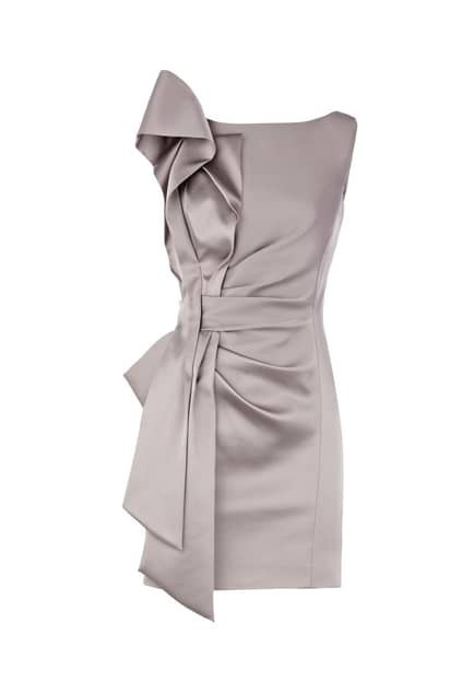 Pleated Side Grey Shift Dress