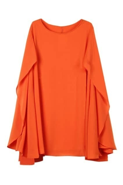 Cape Style Loose Orange Dress