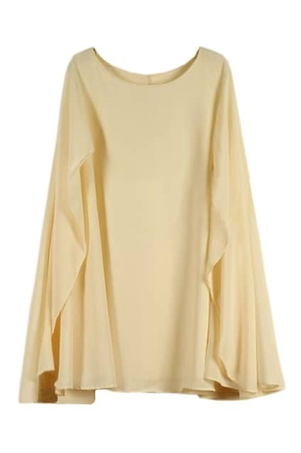 Cape Style Loose Beige Dress