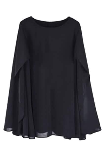 Cape Style Loose Black Dress