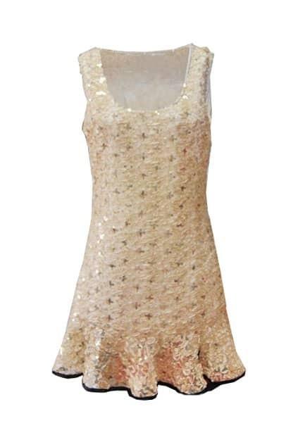 Fishtail Sleeveless Golden Dress