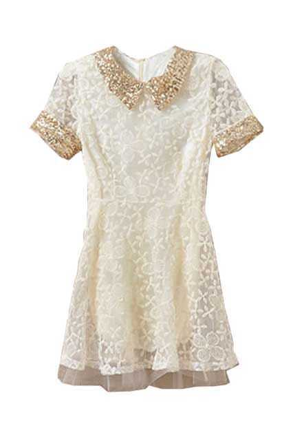 Paillette Collar Lace Beige Dress