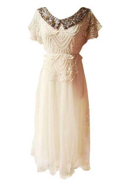 Lapel Crochet Flowers Apricot Dress
