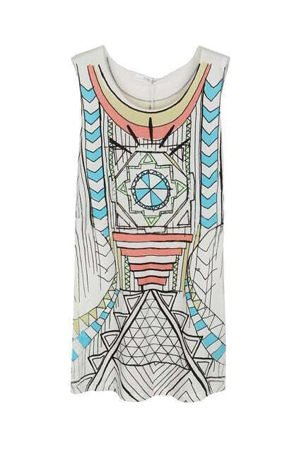 Geometry Printing White Vest Dress