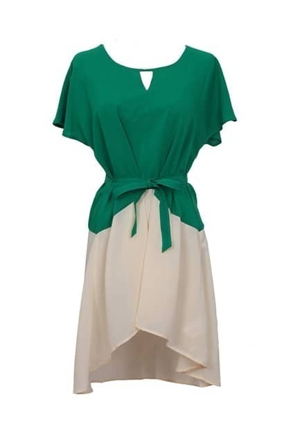 Hollowed Triangle Contrast Color Green Dress