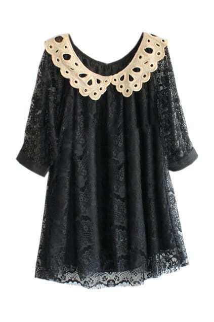 Lace Outer Hollowed Lapel Black Dress