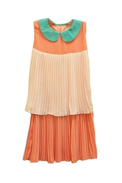 Contrast Collar Pleats Orange Dress