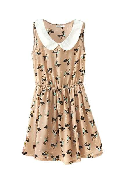 Deer Print Sleeveless Dress