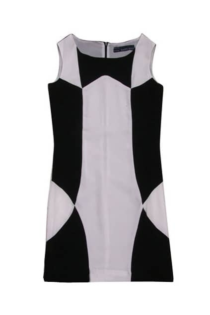 Geometric Design Black-white Dress