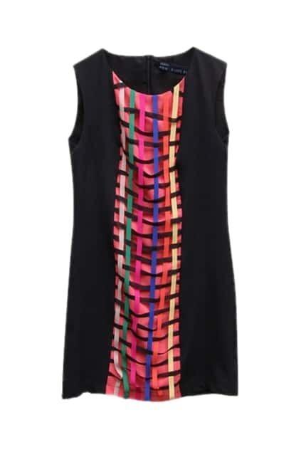 Stripes Knitted Black Dress