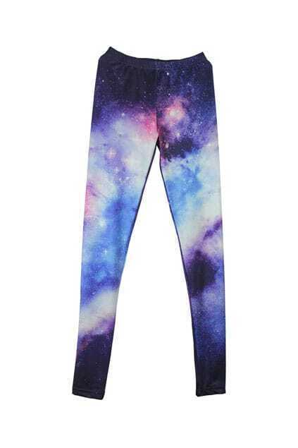Purple Starry Elastic Leggings