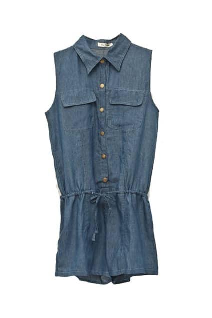 Sleeveless Denim Dark-blue Jumpsuits