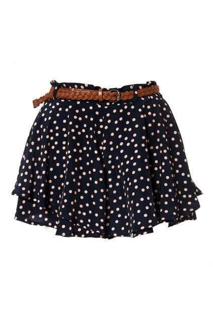 Hofn Style Double Chiffon Dark-navy Shorts