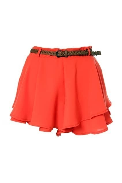 Slim Double Chiffon Orange Shorts