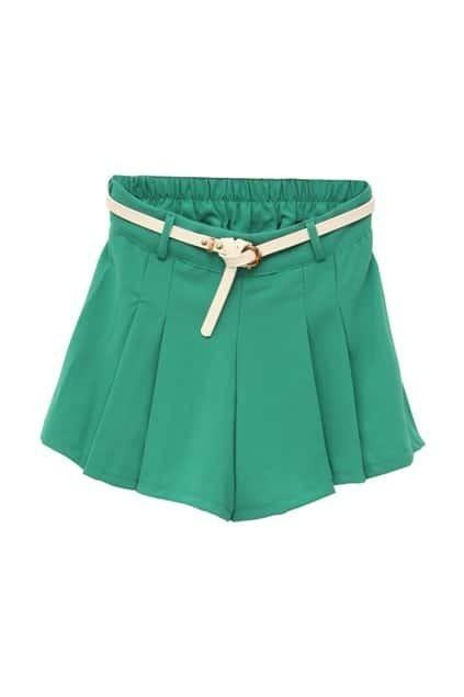 Slim Pleating Blue-green Shorts