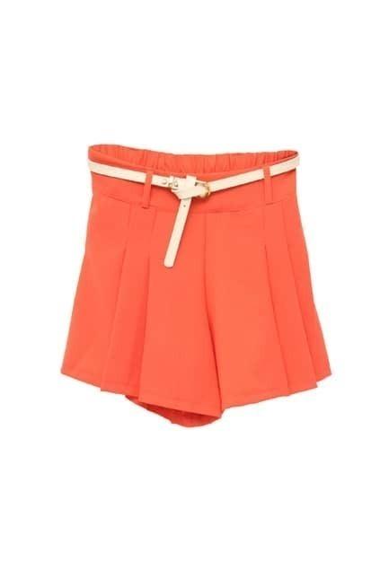 Slim Pleating Pink Shorts