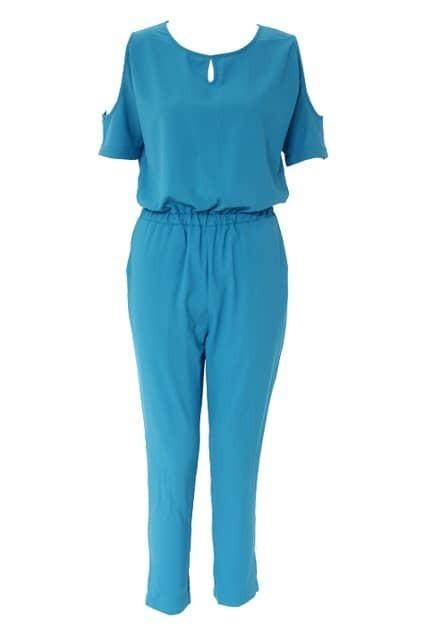 Off Shoulder Blue Jumpsuit