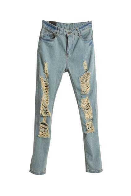 Hole Light-blue Jeans