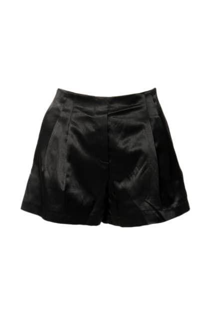 High Wasit Side Zips Black Shorts
