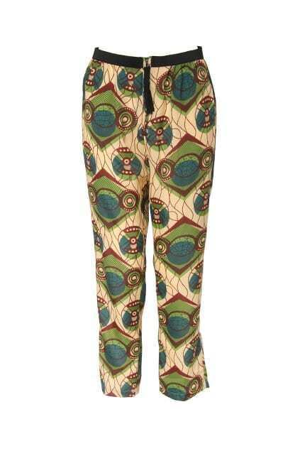Retro Pattern Printed High Waist Pants