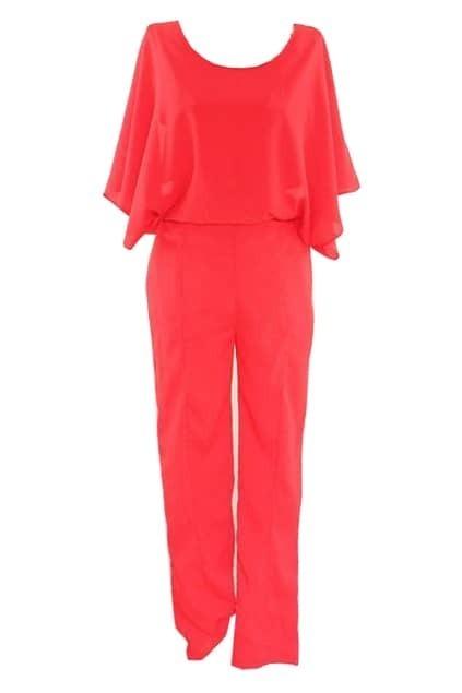Crossed Back Red Jumpsuit