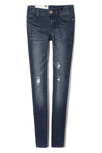 Distressed Dark Blue Pencil Jeans