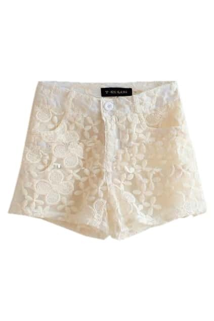 All Over Lace Apricot Shorts