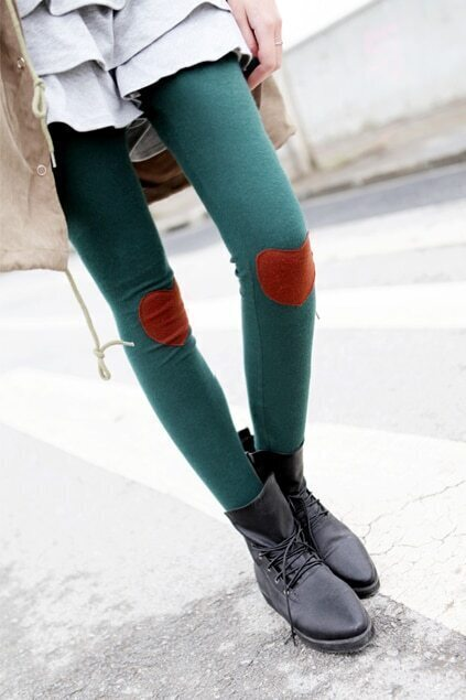 Heart Knee Army Green Legging