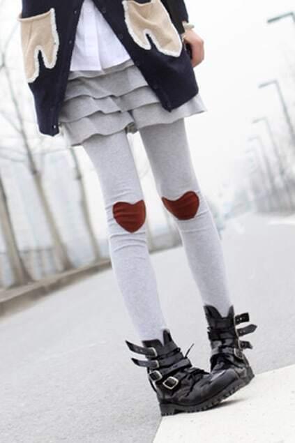 Heart Knee Light Grey Legging