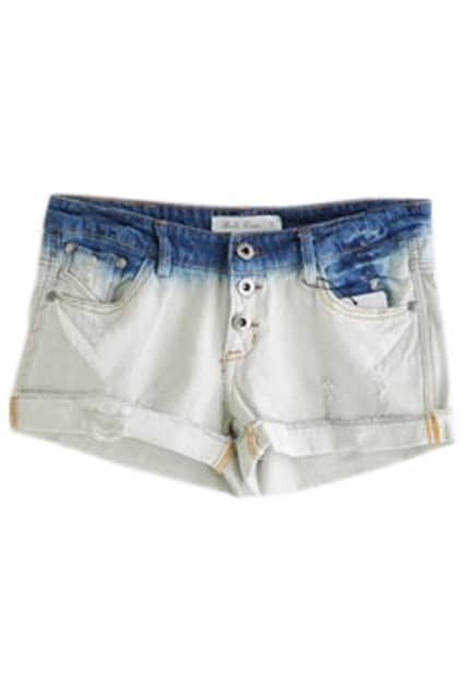 Rolled Hem Threadbare Blue Shorts