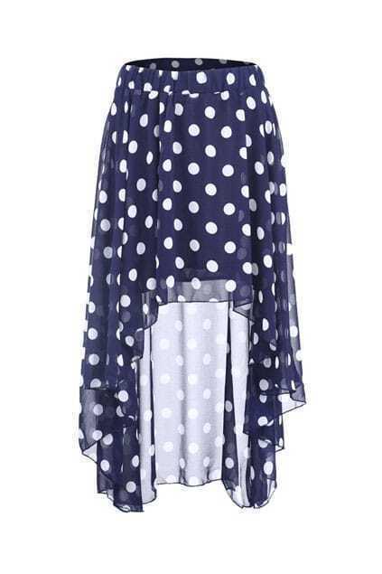 Dots Print Anomalous Blue Skirt