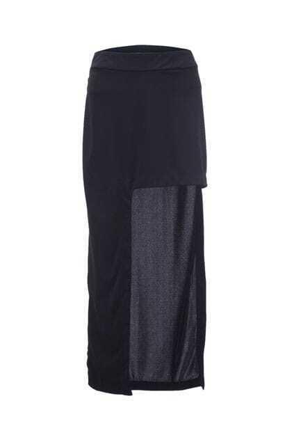 High Split Black Skirt