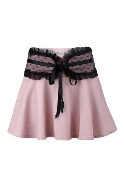 Lace Waistband Flare Skirt