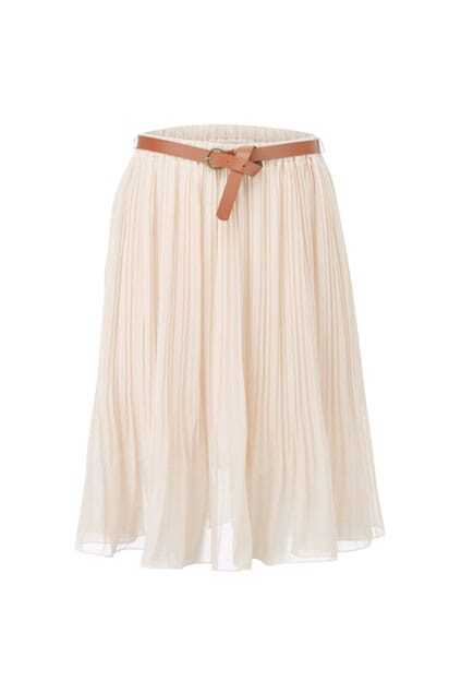 All-over Pleating Belted Skirt