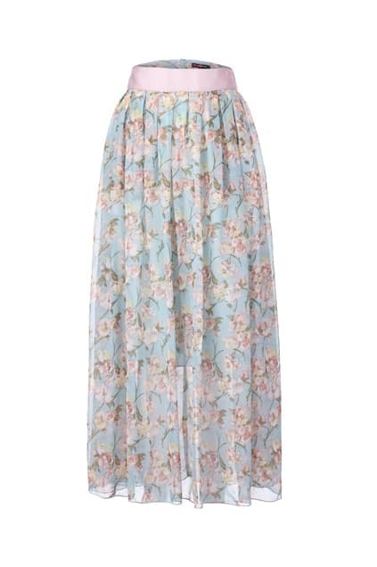 Floral Print Gathered Pleating Skirt