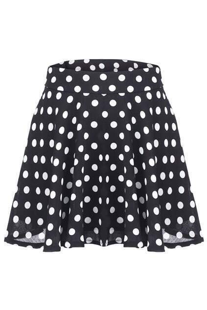 Polka Dots Flared Skirt